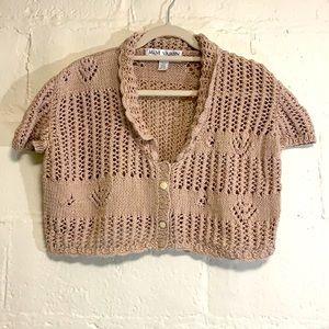 VTG Cottagecore Pink Hand Knit Scalloped Collar Cropped Cardigan